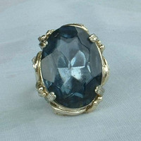 Large Blue Glass Cocktail Ring Size 9 Cushion cut Chrome Plated Vintage Jewelry