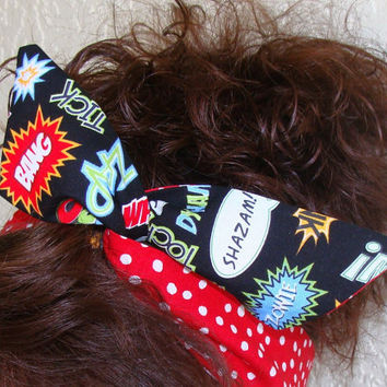 Large Dolly Bow, Comic Words with Red Polka Dots, Pin Up Wire Headband Rockabilly Teen Woman