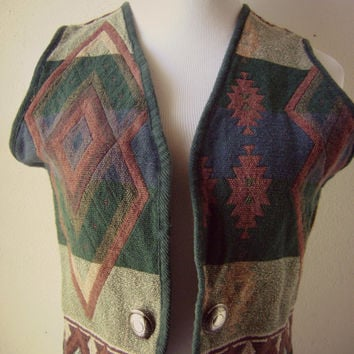 southwestern print woven cotton vest vintage 90s tribal ethnic pattern medium cropped boho hipster metal conchos open front top layering