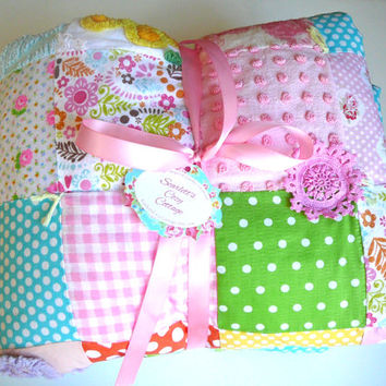 Chenille Baby Quilt -  Toddler Quilt - Patchwork Quilt - Crib Quilt - Baby Shower Gift - Nursery Bedding