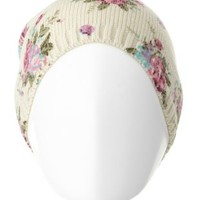 Floral Print Pom-Pom Beanie by Charlotte Russe - Ivory Combo