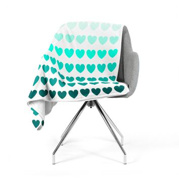 "NL Designs ""Teal Hearts"" Blue love Fleece Throw Blanket"