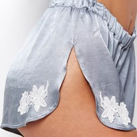 SKIVVIES by For Love & Lemons Le Fleur Shorts in Slate