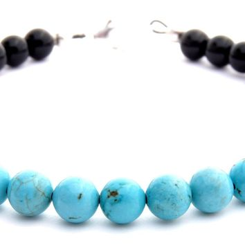 Mens SPEAKING YOUR TRUTH Throat Chakra Bracelet w/ Blue Turquoise