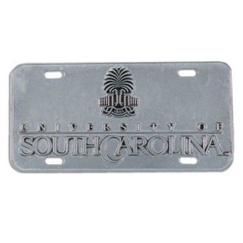 South Carolina Gamecock University Horseshoe Pewter License Tag