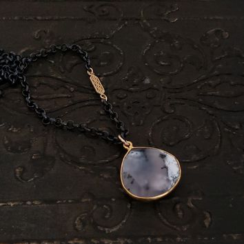 Dendritic Agate Oxidized Silver and Gold Necklace