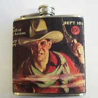 retro cowboy flask vintage 1950's western kitsch rockabilly beefcake pulp fiction