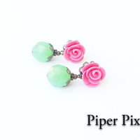 Shabby Chic Post Earrings Pink and Green Rose by PiperPixieDesigns