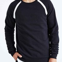 Rascals Taped Seam Pique Crew Neck Sweatshirt- Black