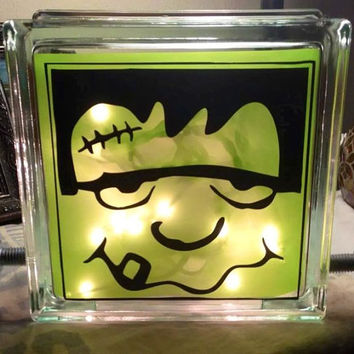 Frankenstein Monster Lighted Glass Block, Halloween Decor