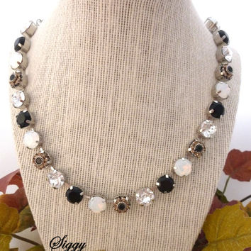 TUX-DE-LUXE Swarovski crystal black and white necklace, flower embellished, black tie affair, Siggy Jewelry