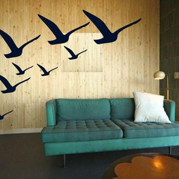 Hand Drawn Sea Gulls Wall Art - vintage inspired free bird- Vinyl decals sticker graphics tattoo stickers by 3rd Ave Shore