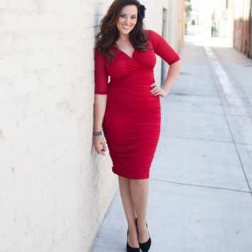 Plus Size Red Ruched Sleeved Wiggle Betsey Cocktail Dress - Unique Vintage - Prom dresses, retro dresses, retro swimsuits.