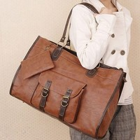 Brown Large Capacity PU Leather Handbag * free shipping *
