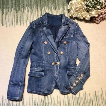 Trendy New arrival 2018 spring autumn fashion women cotton denim blazer double breasted gold color buttons slim jackets outerwear blue AT_94_13
