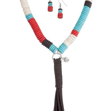 West and Co. Faux Turquoise, Red, White and Black Large Bead Necklace Set