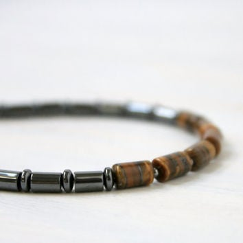 Men Stone Thin Beaded Bracelet Tiger's Eye Hematite Gemstone Jewelry Gift for Him
