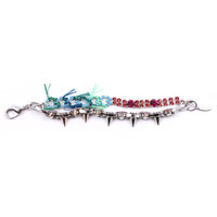 Split Personality Crystal Bracelet W/ Threads & Spikes - Pink/ Turq/ Green