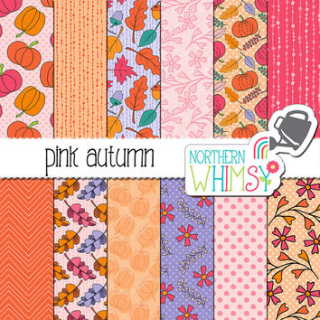 "Fall Digital Paper - ""Pink Autumn"" - pumpkins, leaves and floral seamless patterns in pink orange & purple - scrapbook paper -commercial use"