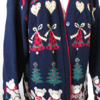 Large to Xlarge Ugly Christmas Sweater Cardigan Nut Cracker Brand Tree's Bell's Bears FREE SHIPPING