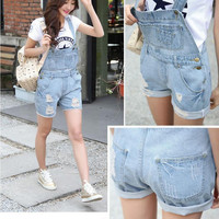 washed ripped denim jeans overalls women with pockets tore up plus size cowboy female bib casual short jeans pants women shorts