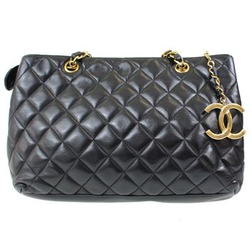 CHANEL Matelasse Quilted Chain Hand Bag Black Leather Vintage Authentic #D870 I