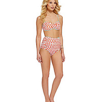 Cremieux Dot-Twist Bandeau & High-Waist Bottom | Dillards.com