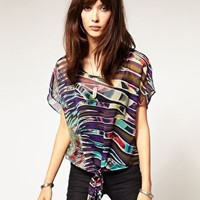 Band Of Gypsies Feather Print Tie Front Blouse