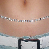 Lady's Sexy Clear Crystal Focal Belly Waist Chain (2 Styles)