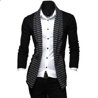 Partiss Mens Slim Fit Knitted Stripe Cardigan