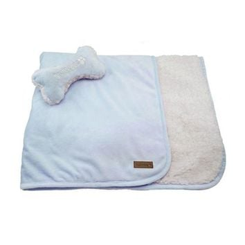 Luxe Sherpa Puppy Blanket and Toy Set - Baby Blue
