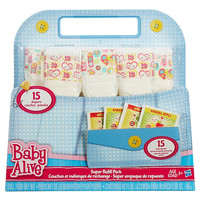 Baby Alive Super Refill Pack [15 Diapers and 15 Food Packets]