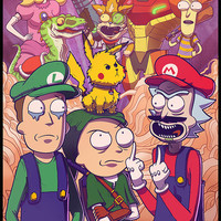 Rick & Morty Meet Smash Bros- Mike Vasquez/Joe Hogan Collaboration 11x17 inch Print