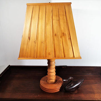 Hand crafted Rustic table lamp Vintage cabin decor  natural turned wood base, wood slat lamp shade. Rustic. Western or Woodland Decor