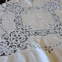Embroidery square tablecloth Vintage Battenburg lace white top table decor Beautiful toptable Retro whitework Stunning classic design chic