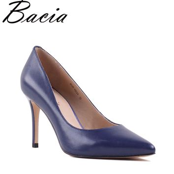 Bacia Sheep Skin High Heels Genuine Leather Elegant Pumps Women Royal Blue Shoe 8.3cm Thin Heel Pointed Toe Size 33-41 NEW SA021