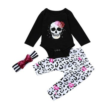 Newborn Infant Baby Girl Skull Floral Romper Tops+Pants 3Pcs Outfits Clothes Set baby clothes kids clothing