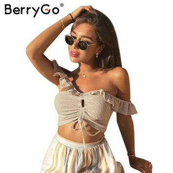 BerryGo Sexy ruffle off shoulder knitting top tees Fashion lace up crop top female Streetwear elastic slim cropped top women