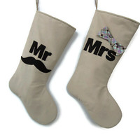 Mr and Mrs Christmas Stocking, Couples Stockings, Just married Christmas Stocking