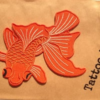 Japanese Koi / Fish Tattoo / Iron-on Patches / Orange Koi Fish / Tattoo Appliqué / Embroidery / DIY Denim Jacket