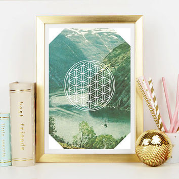 Flower of Life Free Spirit Art Print - Home Decor - Hippie Art Print -  Art Print - Esoteric Print- Spiritual Print- Supernatural