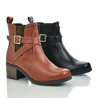 Lawler Tan Pu By City Classified, Round Toe Strappy Buckle Elastic Ankle Block Stacked Heel Bootie