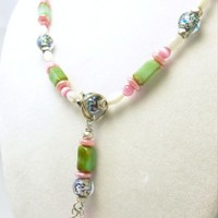 Pink, White, Blue, Sterling Gemstone Necklace Peruvian Opal Cats Eye