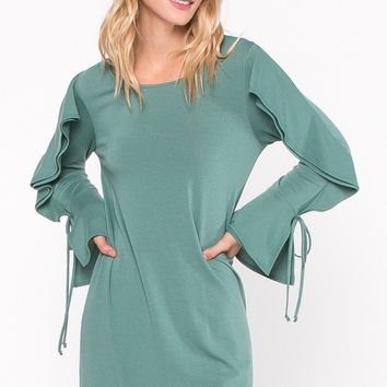 Lancaster Ruffle Sleeve Shift Dress by EVERLY
