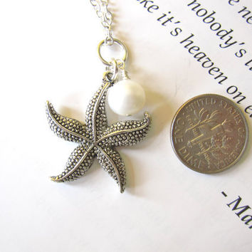 Antique Silver Starfish Necklace with swarovski pearl FREE SHIPPING