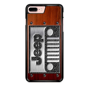 Embossed Steel Jeep Logo On Wood iPhone 7 Plus Case