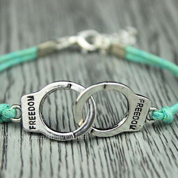 Exquisite small bracelet - handcuffs bracelet, mint green wax rope - lovely friendship gift, simple gifts