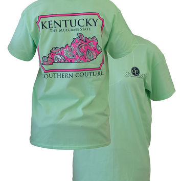 Southern Couture Kentucky Preppy Paisley State Pattern Bluegrass State Girlie Bright T Shirt