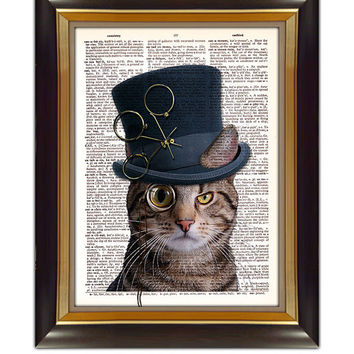 "Dictionary Page Art - DIY Digital Art Print - Steampunk Cat on a Vintage Dictionary Page - CP-316 - 8.5""x11"" - Instant Download"