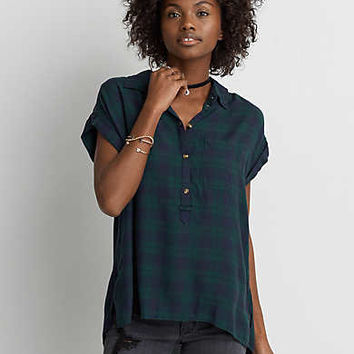 AEO Ahh-mazingly Soft Short Sleeve Shirt , Navy